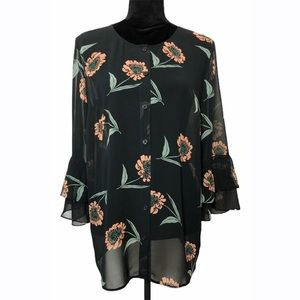 CAbi Black Floral Pattern Sheer Blouse Size Small
